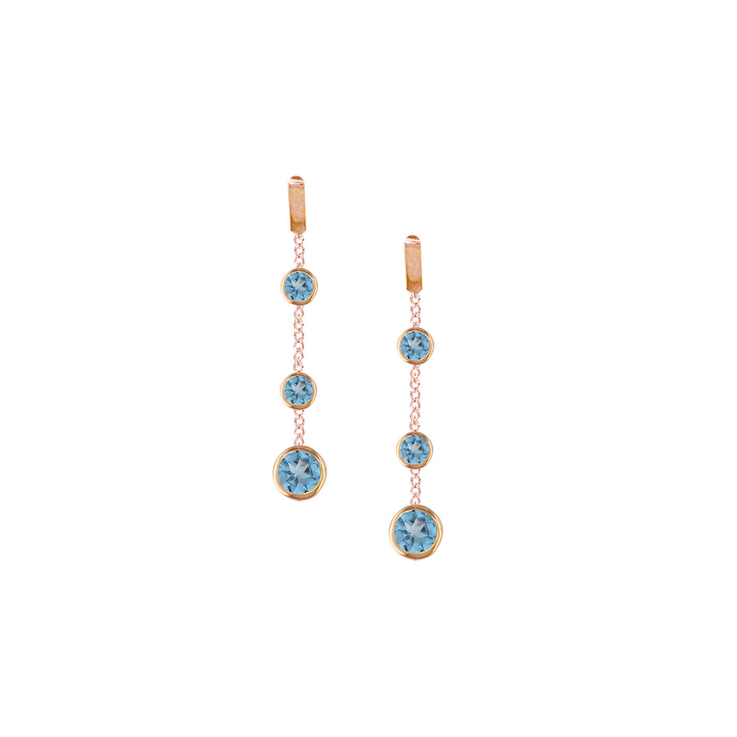 BuyLondon Road 9ct Rose Gold Pimlico Dew Drop Chain Earrings, Blue Topaz Online at johnlewis.com