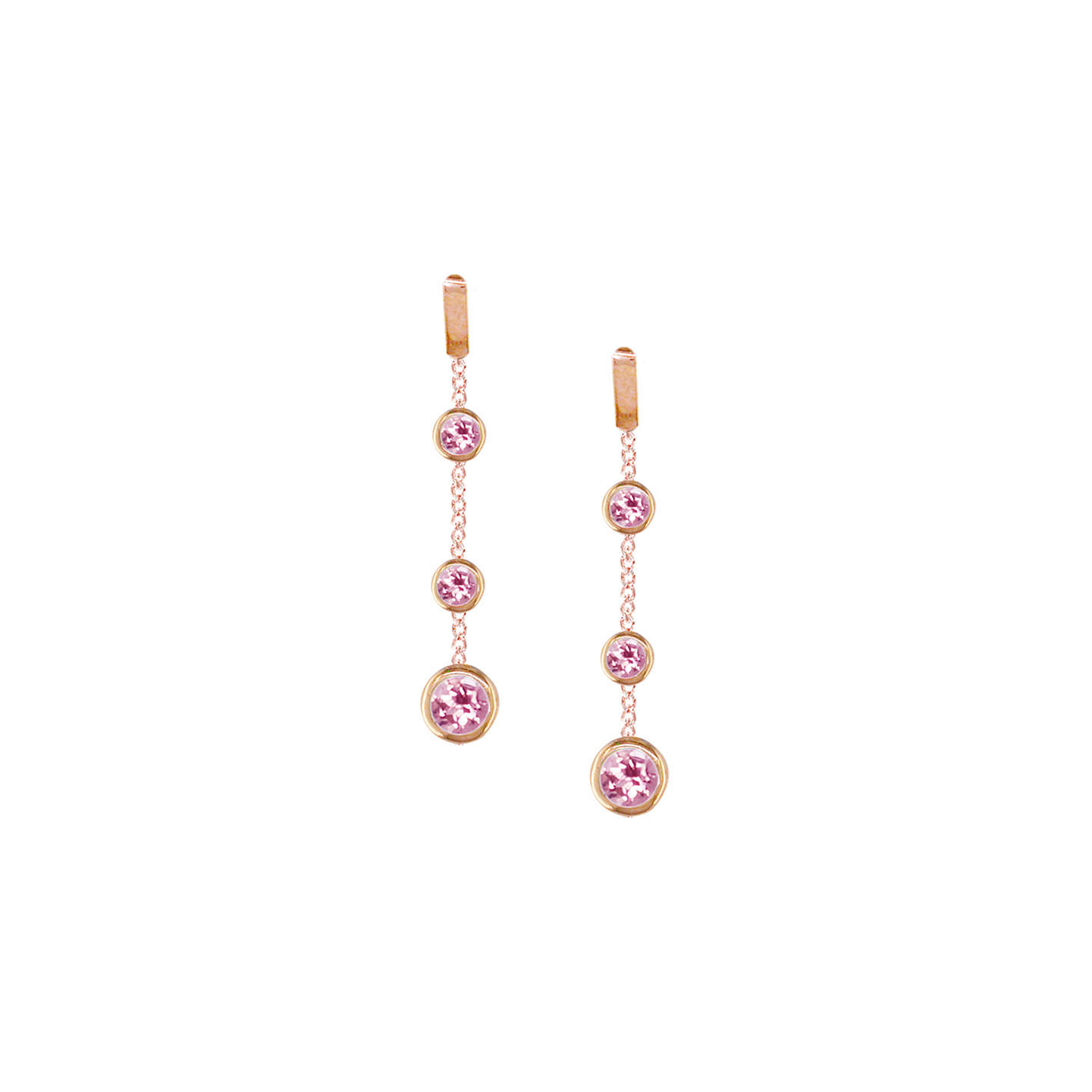 BuyLondon Road 9ct Rose Gold Pimlico Dew Drop Chain Earrings, Tourmaline Online at johnlewis.com