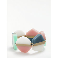 Buy One Button Flat Hexagon and Round Stripe Bead Stretch Bracelet, Multi Online at johnlewis.com