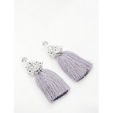Buy John Lewis Statement Glass Crystal Tassel Drop Earrings, Grey Online at johnlewis.com