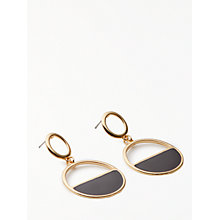 Buy John Lewis Circle Drop Earrings, Gold/Black Online at johnlewis.com