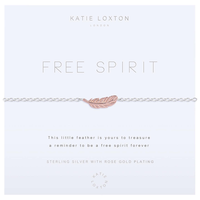 Katie Loxton Free Spirit Feather Charm Chain Bracelet, Silver/Rose ...