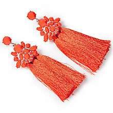 Buy John Lewis Glass Crystal Tassel Drop Earrings, Hot Red Online at johnlewis.com