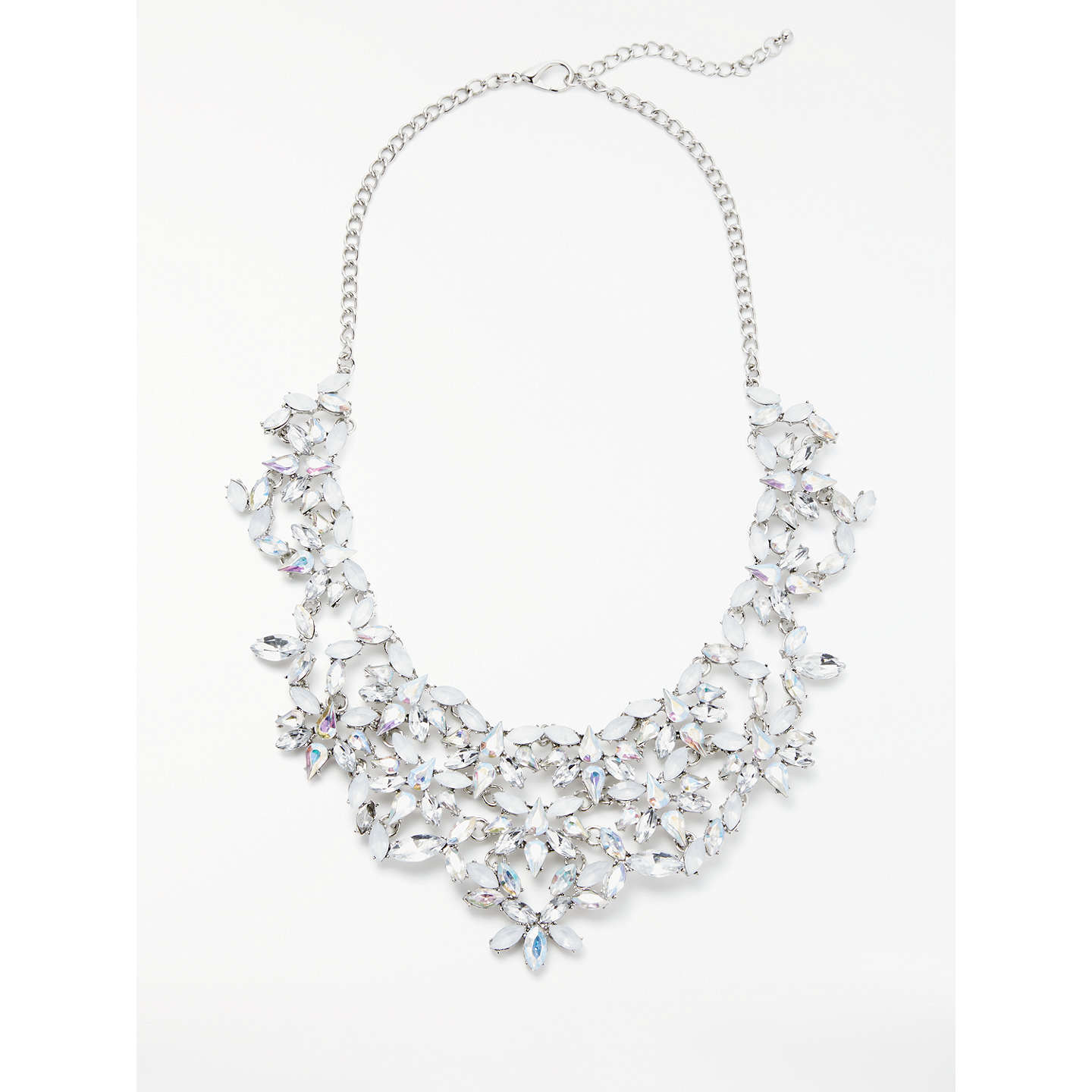 atxi rhinestones art necklace silver boho maxi statement deco crystal bib plated diamante super