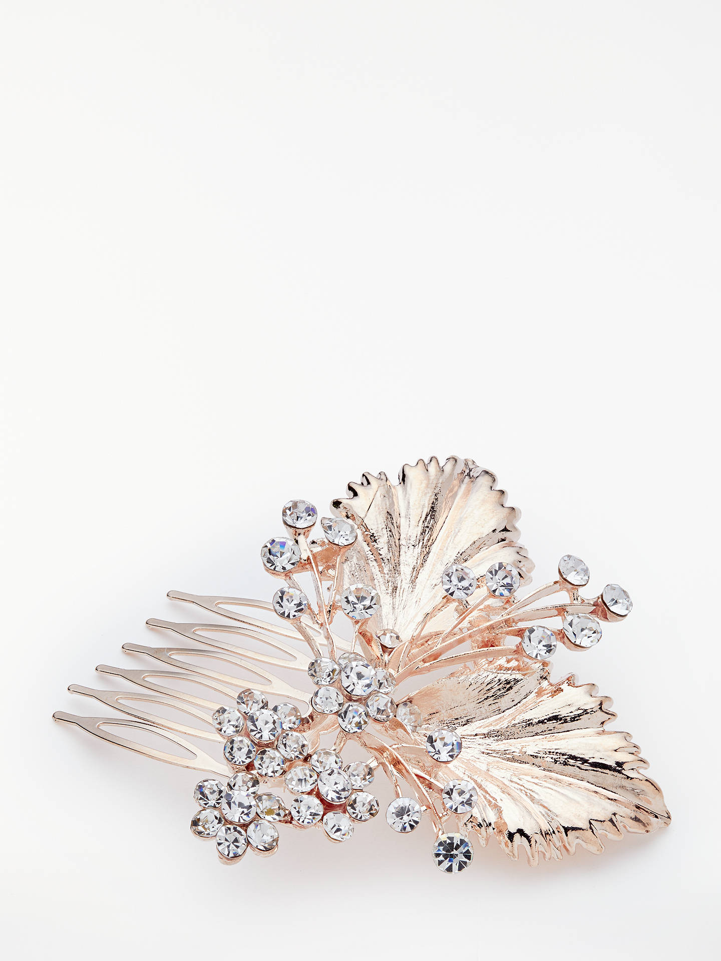 john lewis & partners cubic zirconia floral bridal hair comb, rose gold