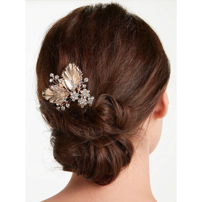 john lewis cubic zirconia floral bridal hair comb, rose gold at
