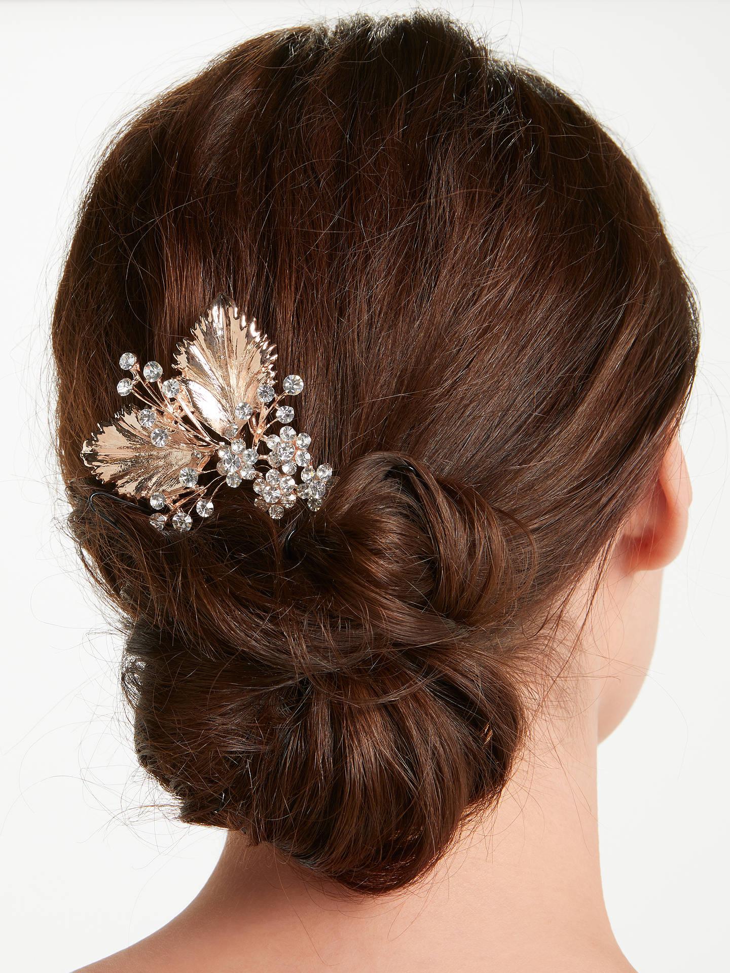 john lewis & partners cubic zirconia floral bridal hair comb, rose gold