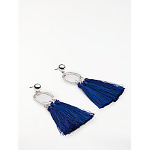 Buy John Lewis Hoop Tassel Drop Earrings, Silver/Royal Blue Online at johnlewis.com