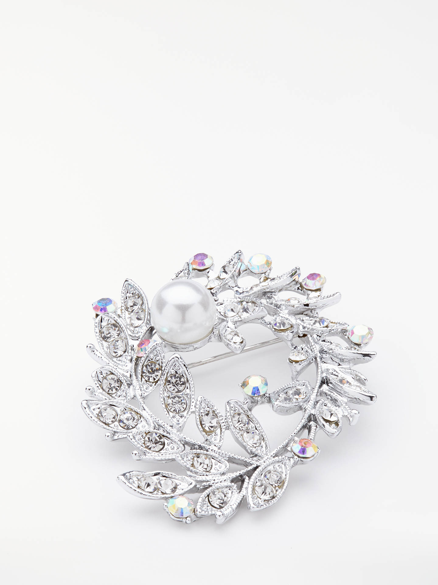 Buy John Lewis & Partners Faux Pearl Wreath Brooch, Silver Online at johnlewis.com