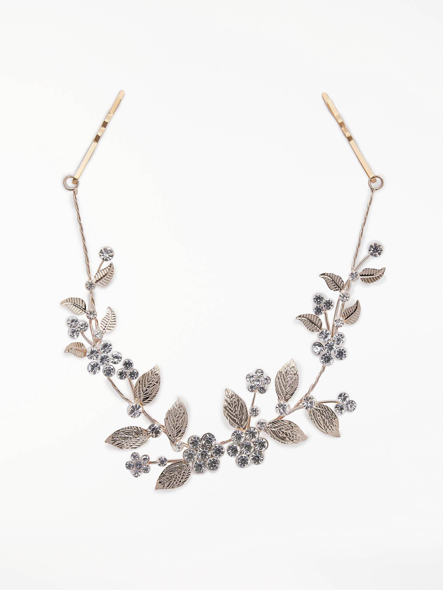 john lewis & partners cubic zirconia floral bridal hair vine, rose gold