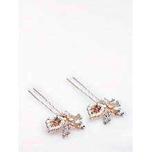Buy John Lewis Cubic Zirconia Floral Leaf Bridal Hair Pins, Set of 2, Rose Gold Online at johnlewis.com