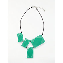 Buy One Button Rectangular Resin Bead Necklace, Turquoise Online at johnlewis.com