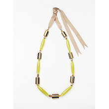 Buy One Button Retro Long Ribbon Necklace, Yellow/Pink Online at johnlewis.com