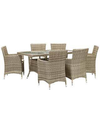 John Lewis & Partners Dante 6 Seater Rectangular Garden Dining Table with 6 Chairs, Natural