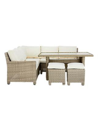 John Lewis Dante Garden Modular Corner Lounging Set with Dining Table and Stools, Natural