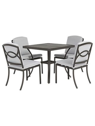 John Lewis & Partners Marlow Aluminium 4 Seater Dining Table and Chairs Set, Black/Grey