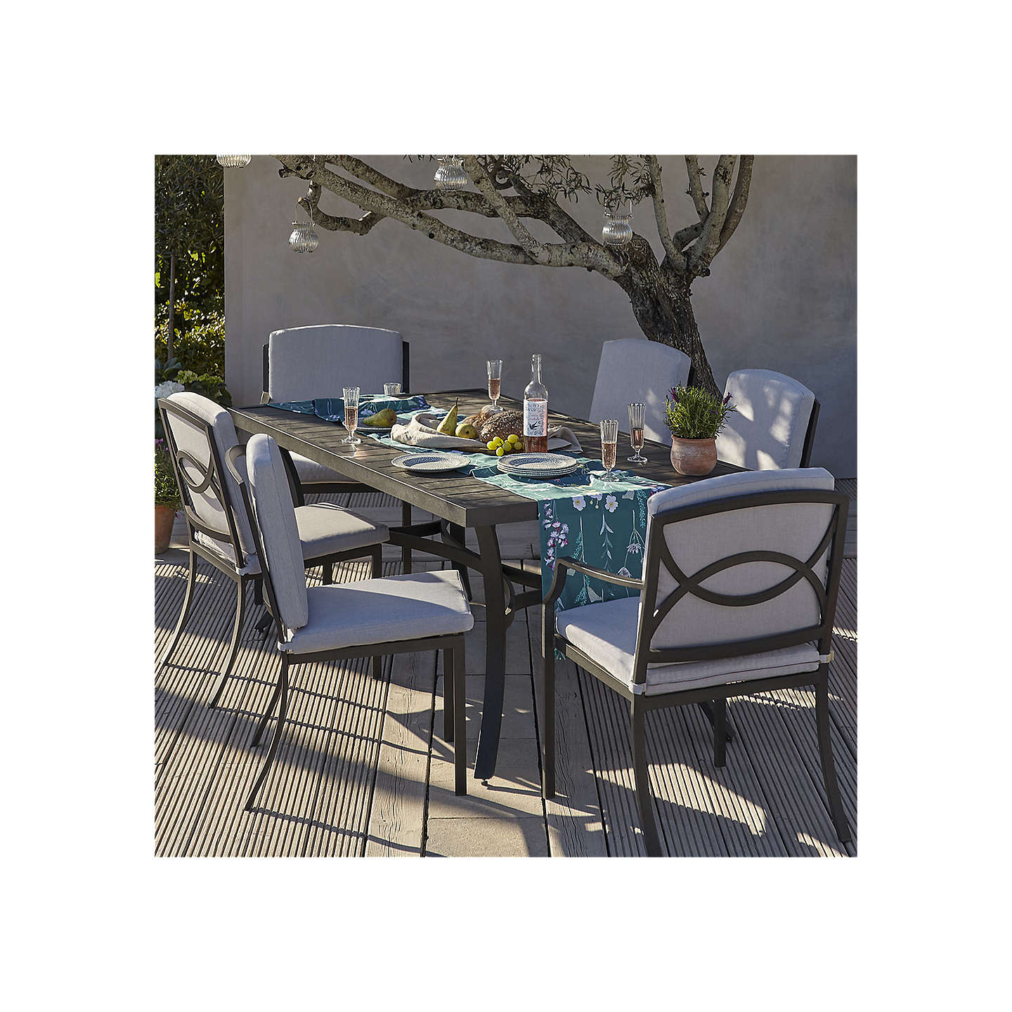 BuyJohn Lewis Marlow Aluminium 6 Seater Dining Table And Chairs Set Black Grey Online