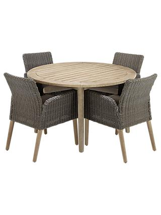 John Lewis Eden 4 Seater Outdoor Round Dining Table and Chairs Set, FSC-Certified (Eucalyptus), Salima Wash