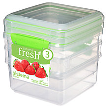 Buy Sistema Fresh Stackable Square Storage Containers, 1.2L, Pack of 3 Online at johnlewis.com