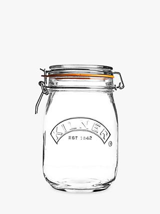 Kilner Cliptop Glass Jar, 1L, Clear