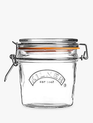 Kilner Clip Top Jar with Gift Tags, Clear/Orange, 350ml