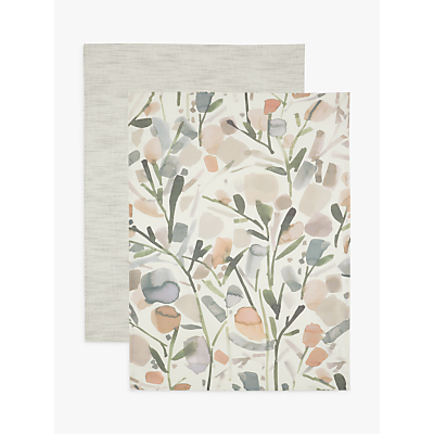 Croft Collection Floral Tea Towels, Neutral, Pack of 2