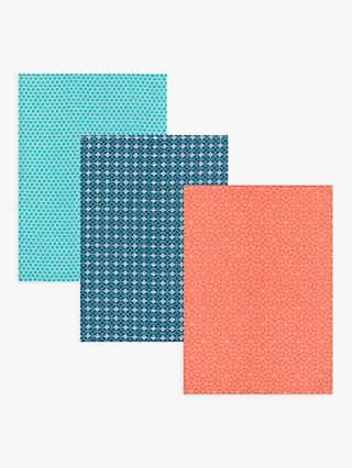 John Lewis & Partners Fusion Geometric Print Tea Towels, Assorted, Pack of 3