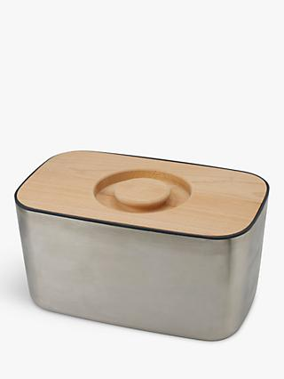 Joseph Joseph 100 Collection Stainless Steel Bread Bin, Silver/Natural
