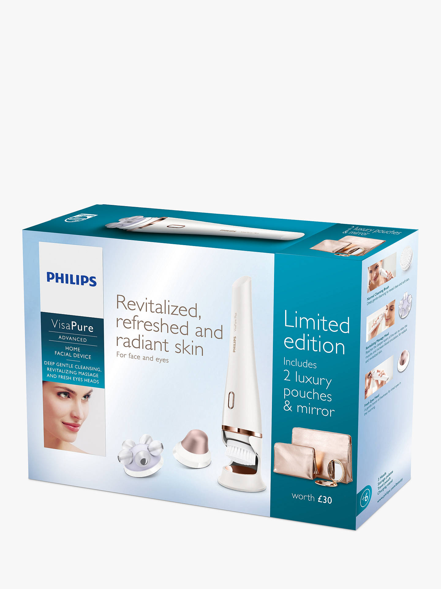 Buy Philips SC5370/10 VisaPure Advanced 3-in-1 Home Facial Device, White Online at johnlewis.com