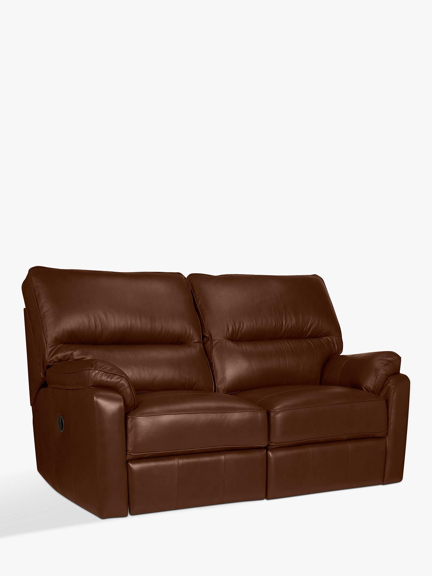 John Lewis Partners Carlisle Small 2 Seater Power Recliner Leather Sofa Dark Leg Milan Chestnut
