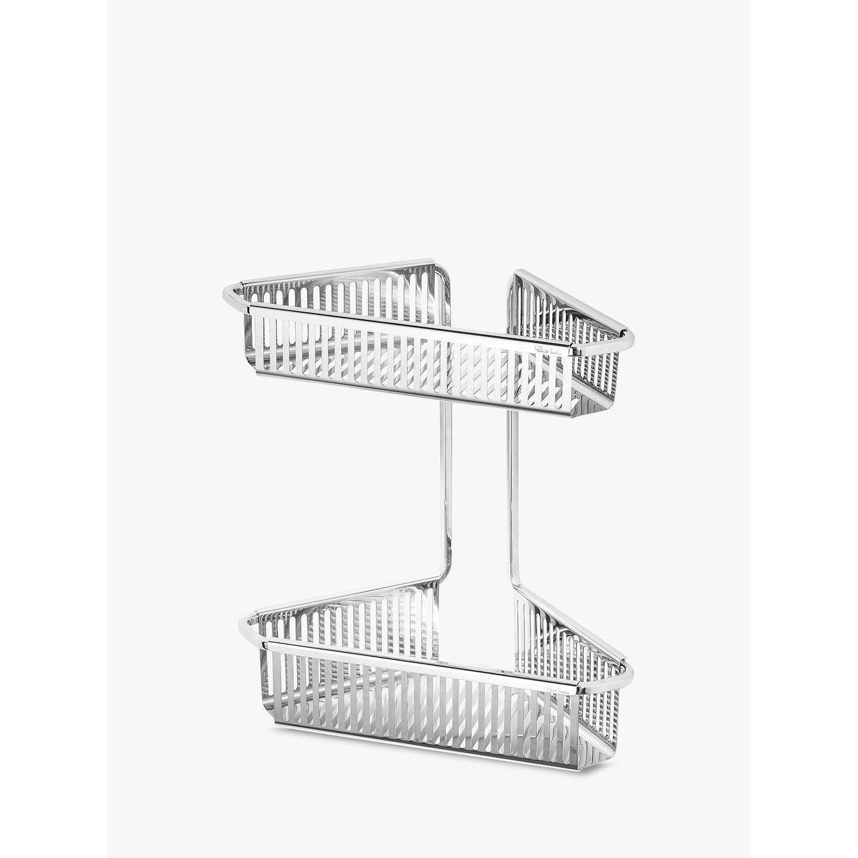 Robert Welch Burford Double Corner Shower Basket, Silver at John Lewis