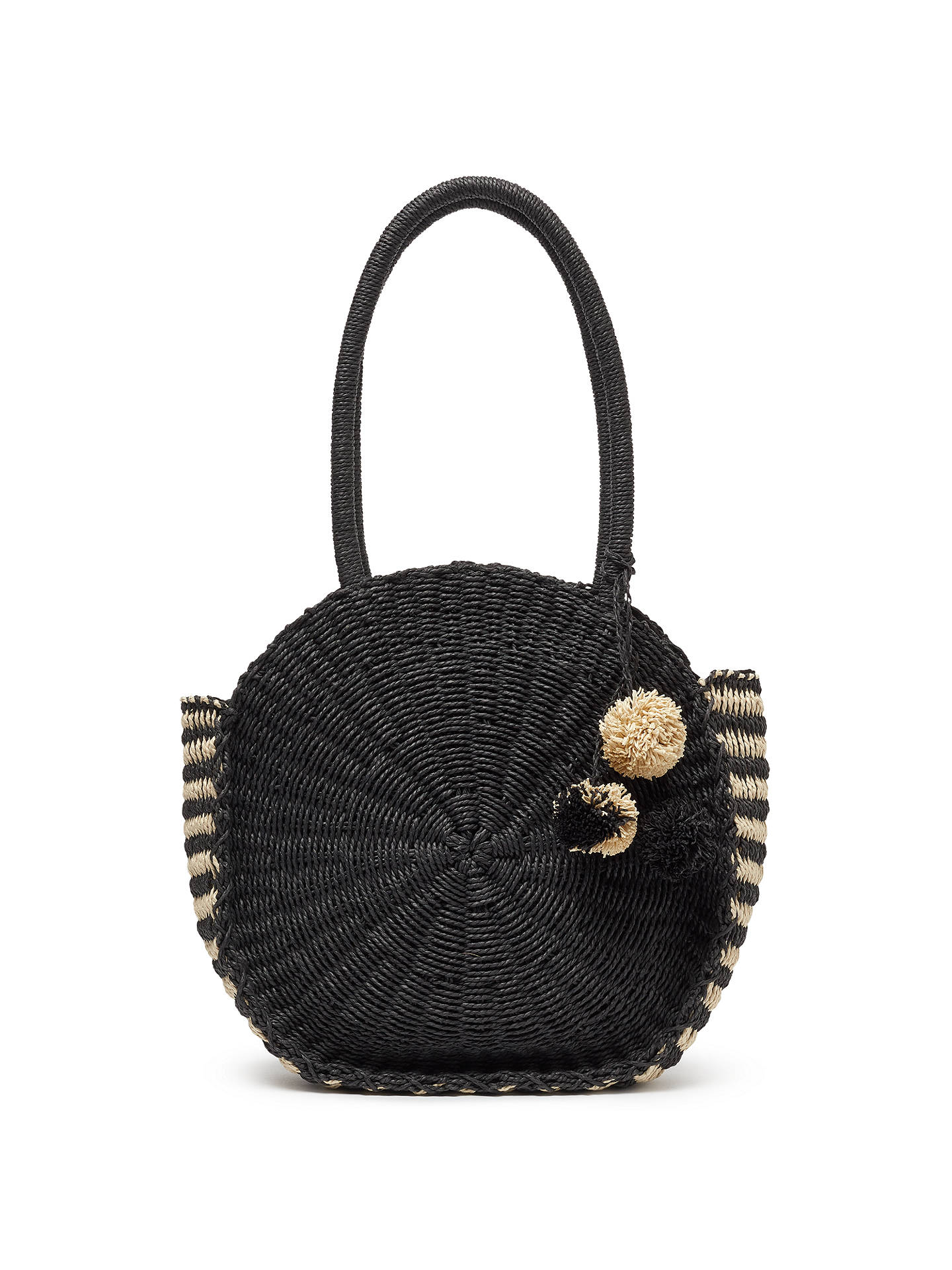 John Lewis Partners Straw Circle Grab Bag Black Cream Online At Johnlewis