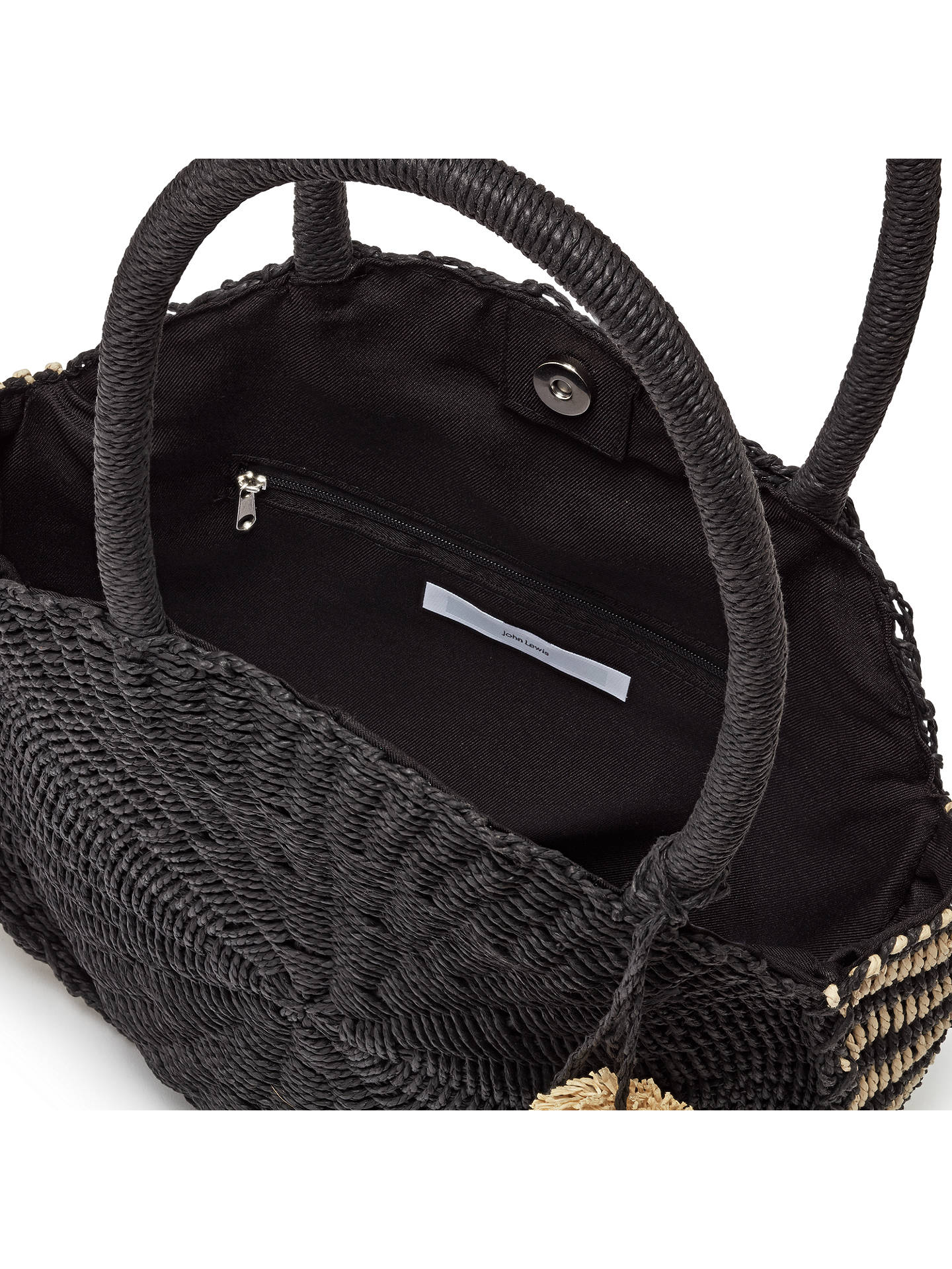 BuyJohn Lewis & Partners Straw Circle Grab Bag, Black/Cream Online at johnlewis.com