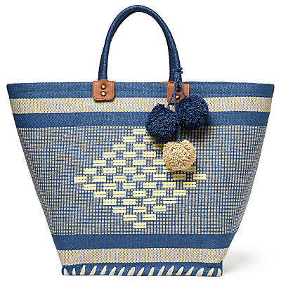 John Lewis Aztec Straw Pom Shopper Bag
