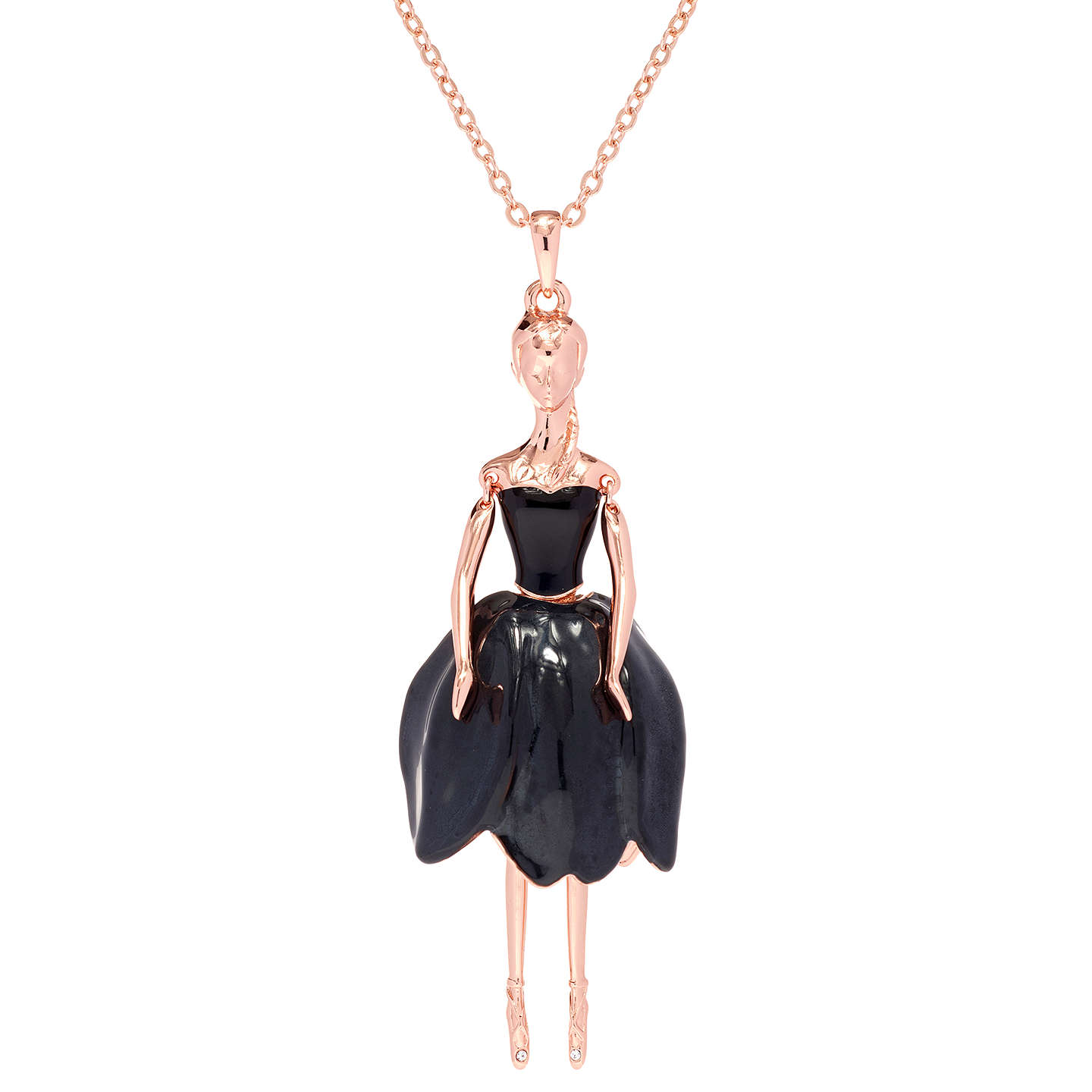BuyTed Baker Tuula Swarovski Crystal Ballerina Pendant Necklace, Rose  Gold/Black Online At Johnlewis ...