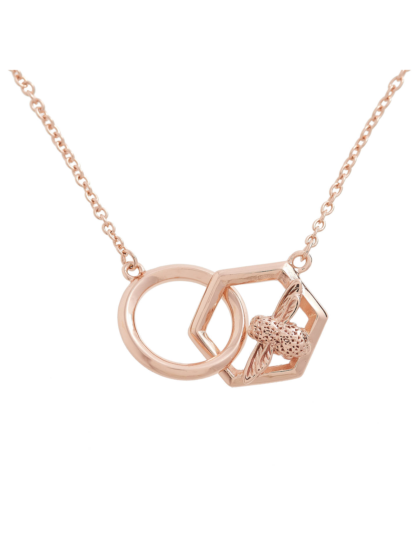 BuyOlivia Burton Honeycomb Bee Chain Necklace, Rose Gold OBJ16AMN21 Online at johnlewis.com