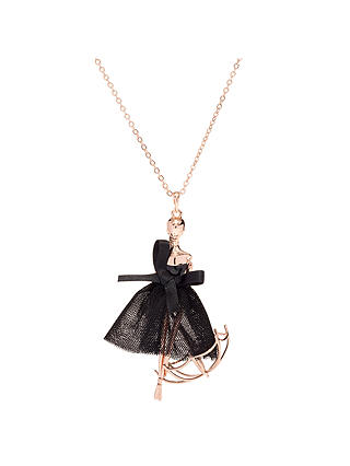 Ted Baker Ursaa Umbrella Ballerina Pendant Necklace Rose Gold Black At John Lewis Partners