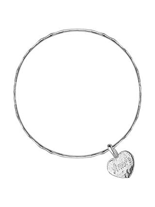 Dower Hall Engravable Cherish The Moment Flat Heart Bangle