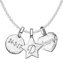 Buy Dower & Hall Engravable Disc, Star and Heart Pendant Necklace Online at johnlewis.com
