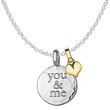 Buy Dower & Hall Engravable Medium Disc and Small Heart Pendant Necklace Online at johnlewis.com