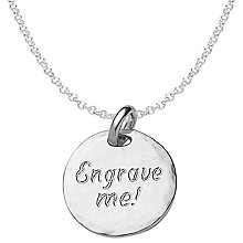 Buy Dower & Hall Engravable Large Disc Pendant Necklace, Silver Online at johnlewis.com