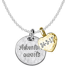 Buy Dower & Hall Engravable Disc and Heart Pendant Necklace, Silver/Gold Online at johnlewis.com