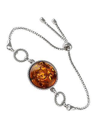 Be-Jewelled Round Amber Chain Bracelet, Cognac