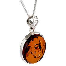 Buy Be-Jewelled Oval Amber Heart Detail Pendant Necklace, Cognac Online at johnlewis.com