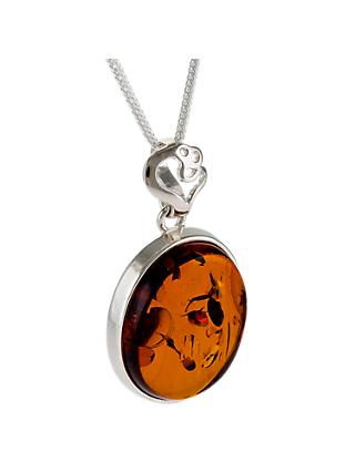 Be-Jewelled Oval Amber Heart Detail Pendant Necklace, Cognac
