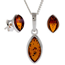 Buy Be-Jewelled Marquise Amber Stud Earrings and Pendant Necklace Jewellery Gift Set, Cognac Online at johnlewis.com