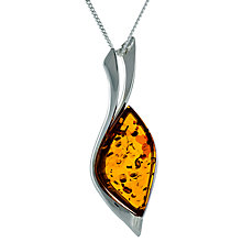 Buy Be-Jewelled Amber Sail Shape Pendant Necklace, Cognac Online at johnlewis.com