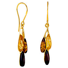 Buy Be-Jewelled Triple Amber Teardrop Drop Earrings, Gold/Multi Online at johnlewis.com