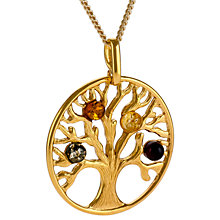 Buy Be-Jewelled Tree Of Life Amber Pendant Necklace, Gold/Multi Online at johnlewis.com