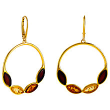 Buy Be-Jewelled Marquise Amber Round Drop Earrings, Gold/Multi Online at johnlewis.com